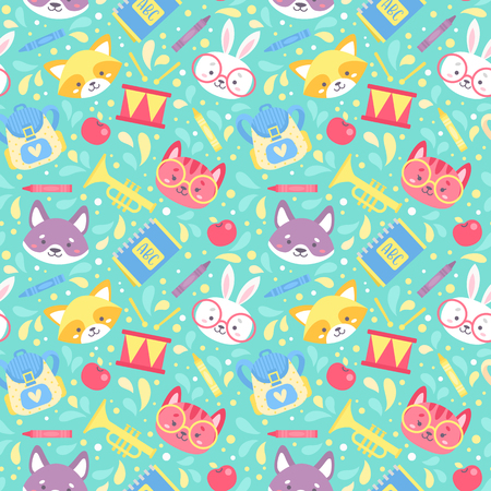 School seamless pattern for children with cute cartoon animals characters and school items. Vector texture for print on fabric, apparel, for web design.