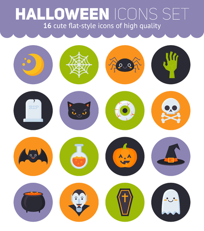 Flat Halloween icons with creepy symbols for infographics, cards, kids and web design Illustration