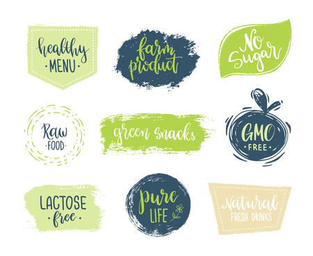 Eco templates with hand lettering for logo and banners of healthy products and organic food Illustration