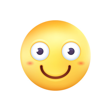 Smiling round yellow emoticon icon for messenger chats