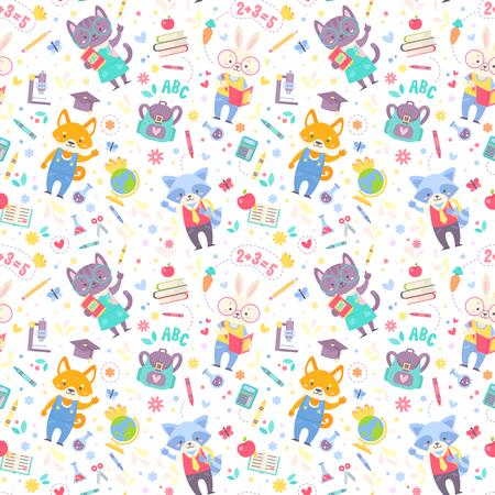 School naadloos patroon voor kinderen met leuke cartoon dieren karakters en schoolartikelen. Vector textuur voor druk op stof, kleding, voor webdesign.