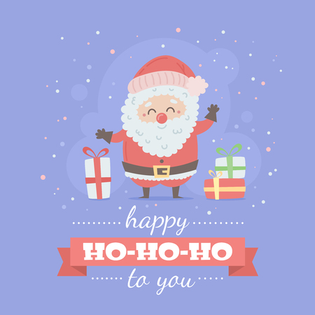 Merry Christmas card with Santa Claus, cute cartoon character, decorative templates for invitations, greeting postcards, design elements