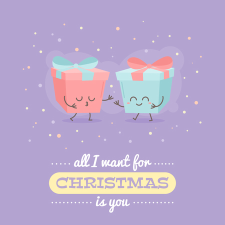 Merry Christmas card with cute cartoon character, decorative templates for invitations, greeting postcards, design elements