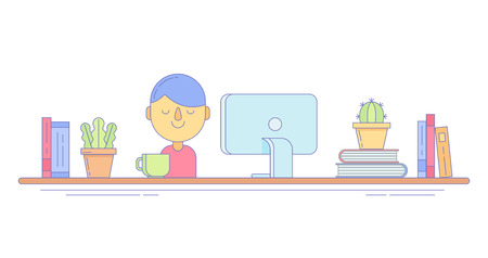 Freelance Worker Icon for Remote Business Vector