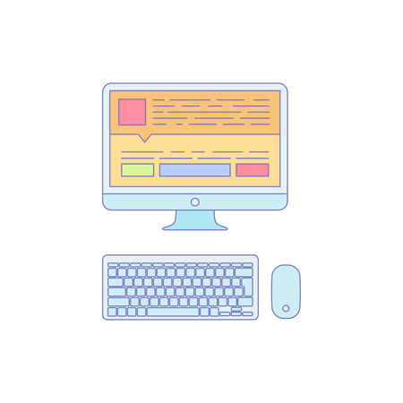 Computer Lined Icon for Business Work