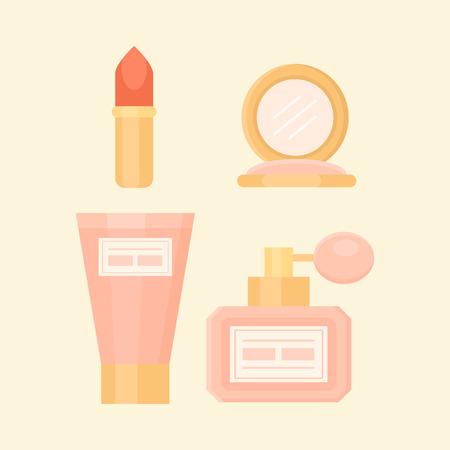 Flat Makeup set with Perfume, Lipstick, Cream, Powder