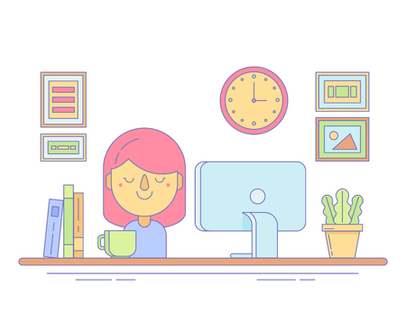 Office Worker Icon for Business and Landing Illustration