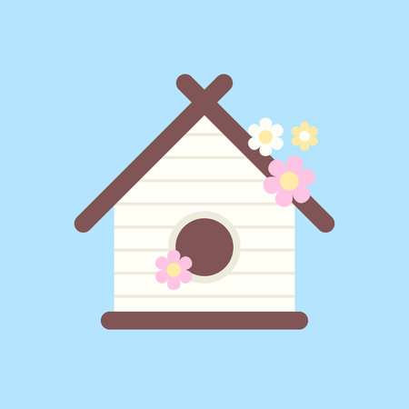 Wooden birdhouse with flowers for birds