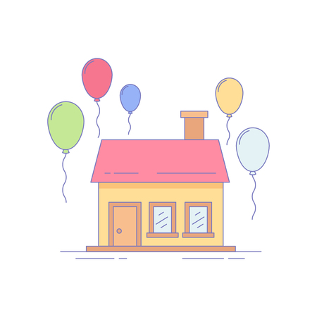 Home Baloon Line Icon or Logo Vector Illustration