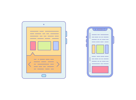 Tablet Smartphone Lined Icon for Business Work