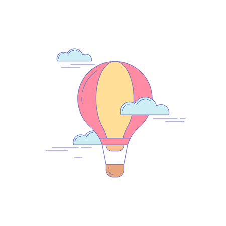 Air Balloon Line Icon for Landing Website