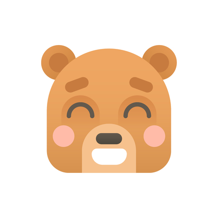 Cute Bear Face Flat Logo Icon Portrait Illustration
