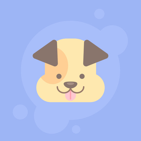 Cute Flat Dog Face or Icon Illustration