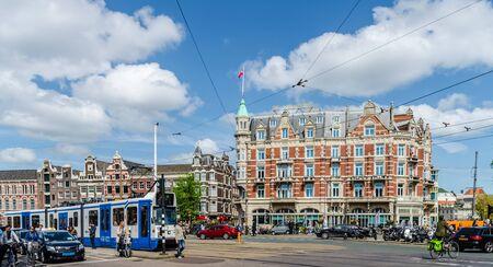 Tram approaching in Amsterdam Netherlands Europe