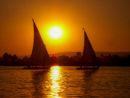 Egyptian Felucca on the Nile at Sunset