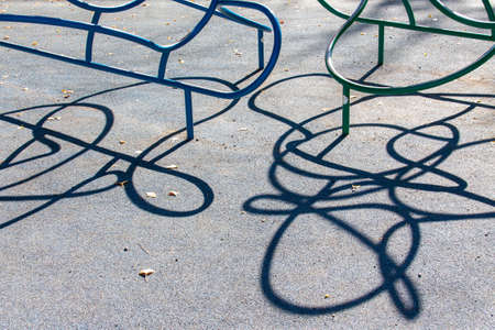 Crooked Lines of Playground Equipment look like Wire Puzzles