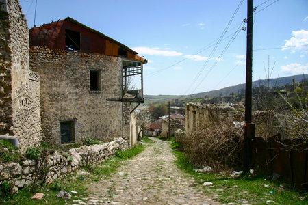 Walking in ruins part of Shusha, Nagorno-Karabakh
