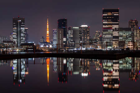 Night Tokyo Reflected on the Surface of the Water