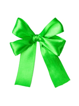 Green satin gift bow  Tape  Isolated on white photo