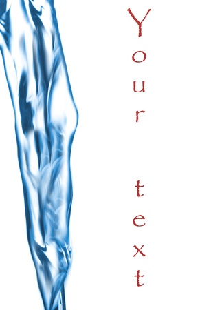 Blue water jet, splashing on a backdrop with copyspace for your text