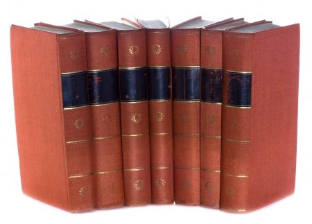 Old vintage books Goethe in a row, isolated on white background photo