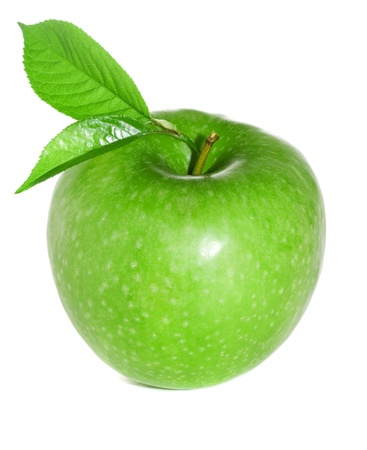 Green apple with leaves isolated on a white background photo