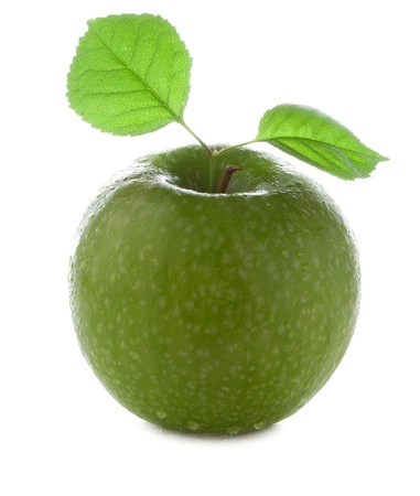 fresh and wet green apple with green leaf with water and with drops isolated on a white background photo