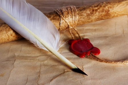 old paper, ancient parchment  scroll with wax seal and quill pen Stock Photo - 21970568