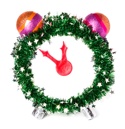 Christmas clock, new year, hand made Stock Photo
