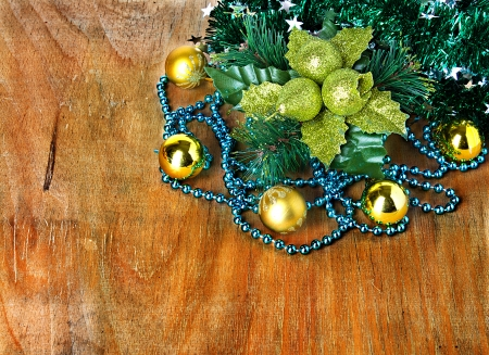 Christmas border with decoration, ornament  on a wooden background photo