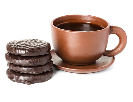 cup of coffee with chocolate cookie photo