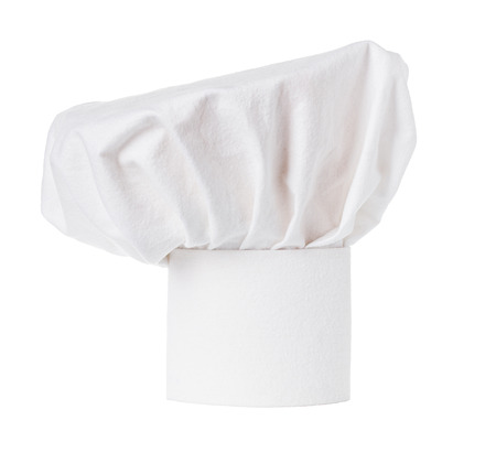 toque blanche: White cooks cap, chef hat isolated on white background
