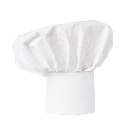 White cooks cap, chef hat isolated on white background