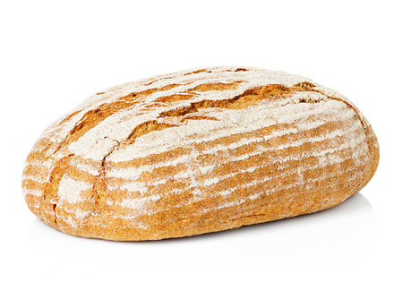 artisan bakery: Large loaf of rye bread isolated on white Stock Photo