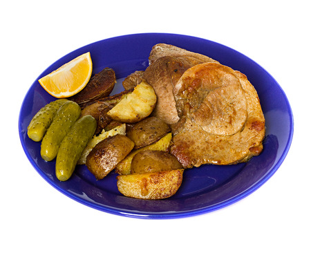 meat steak with potatoes photo