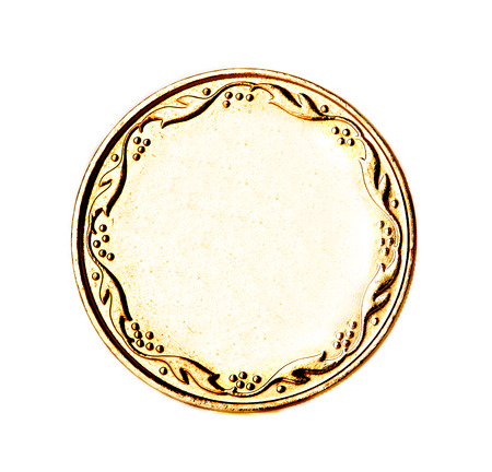 Blank gold and silver coin isolated photo