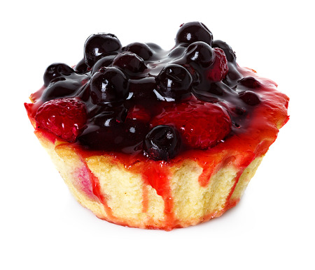 cupcake with strawberries and blueberries photo