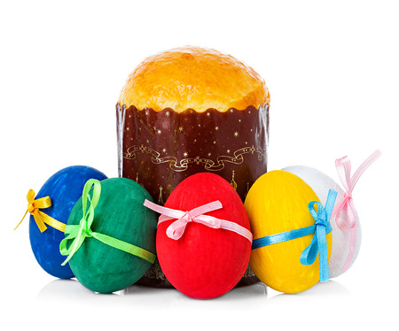 Easter cake and easter eggs isolated photo
