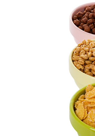 assortment dry cereal, flakes  for breakfast, isolated on white photo