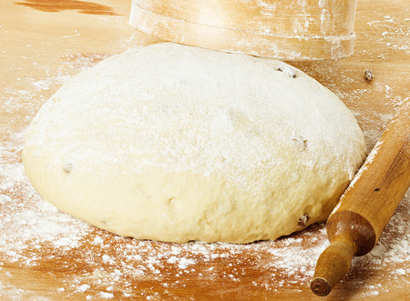 dough with rolling pin on floured table top view photo