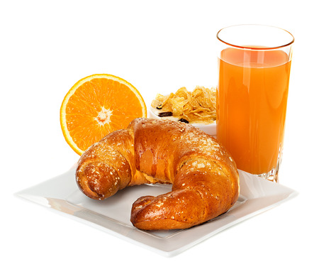 breakfast with croissant, orange juice photo