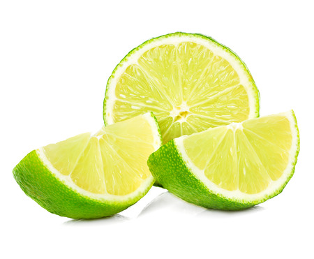 Citrus lime fruit half isolated on white background