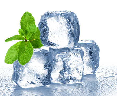 ice cubes and mint Stock Photo