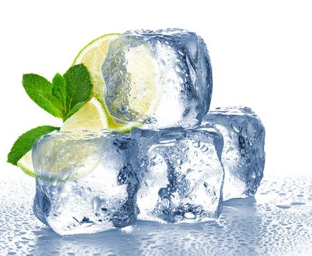 Limoen, munt en ijsblokje geïsoleerde