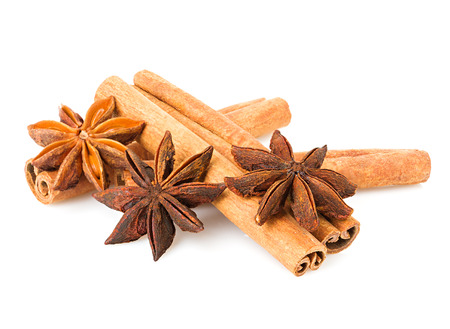 aniseed: anise and cinnamon isolated