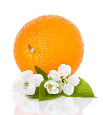 citrus fruit - orange with flowers and leaves isolated photo