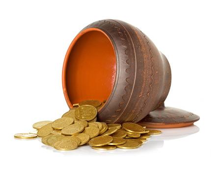 ceramic pot full of coins photo