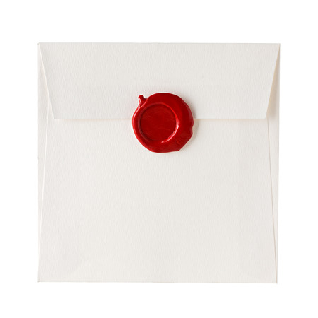 mail envelope or letter sealed with wax seal stamp isolated on white
