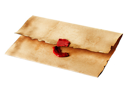 broken contract: old, vintage envelope isolated