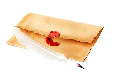 old envelope: old envelope, quill pen